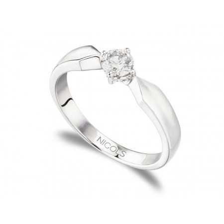 Anillo de Compromiso Marie Twisted Oro Blanco (18kt) con Diamante