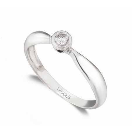 Anillo de Compromiso Linda Oro Blanco (18kt) con Diamante