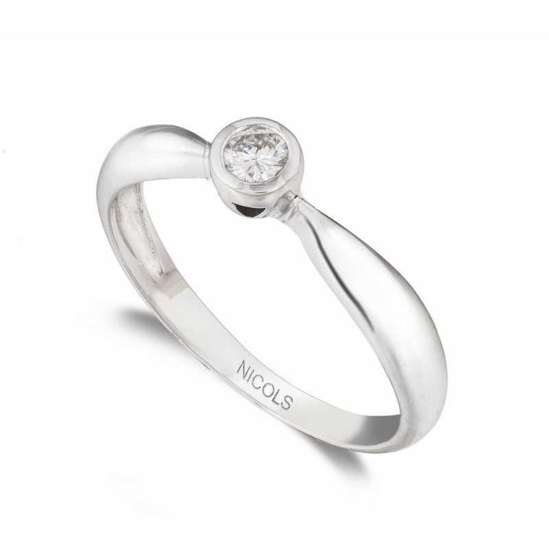 01e4dd69e8b9 Anillo de Compromiso Linda Oro Blanco 18kt con Diamante INDITALLA ...
