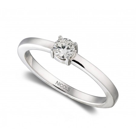 Anillo de Compromiso Katherine Oro Blanco (18kt) con Diamante