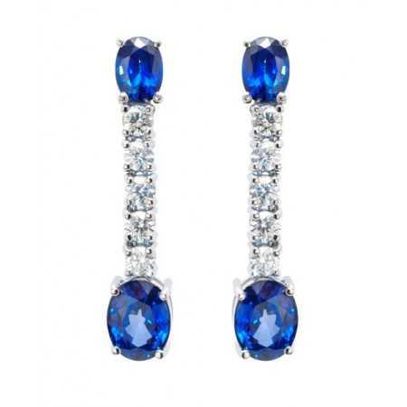 Pendientes Zafiro y diamantes Sangre azul
