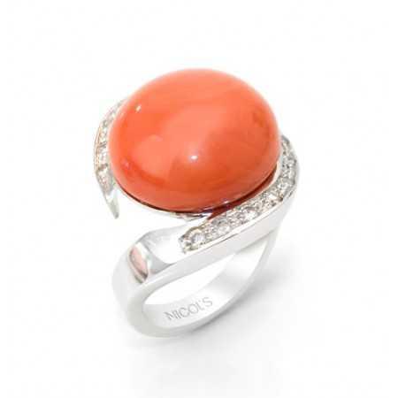 Anillo Coral y Diamantes ESPIRAL