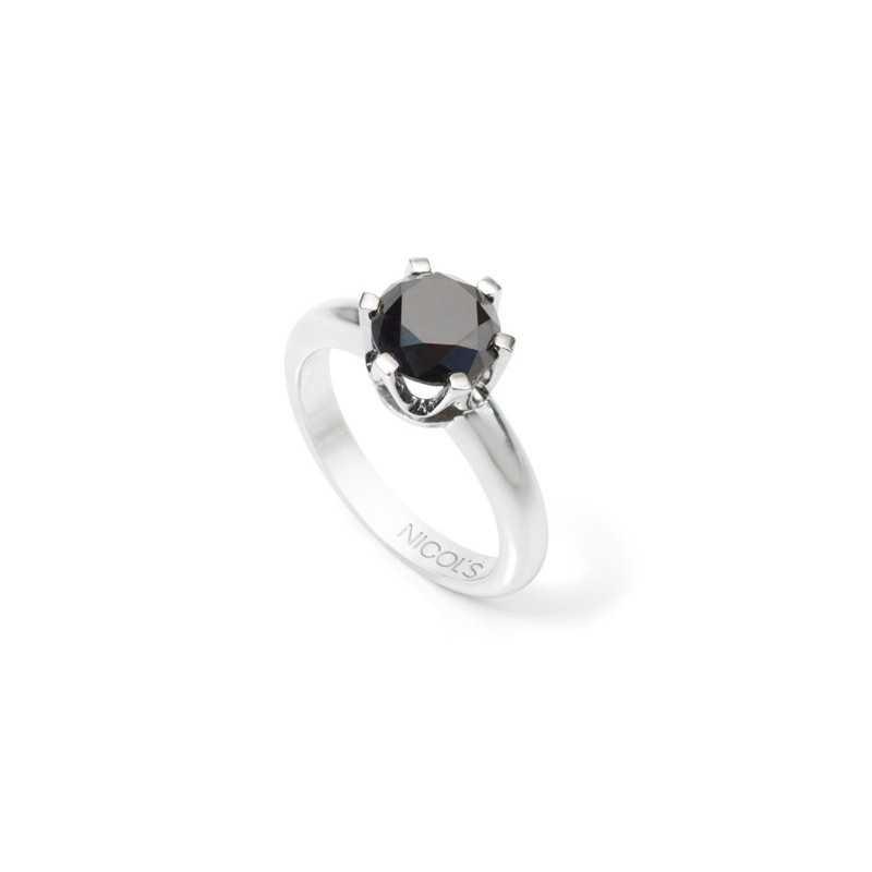 82e68e01d2a3 Anillo Diamante Negro BLACK POWERNICOL´S. Sortija solitario con piedra  central engastada en seis garras. Fabricada en oro blanco