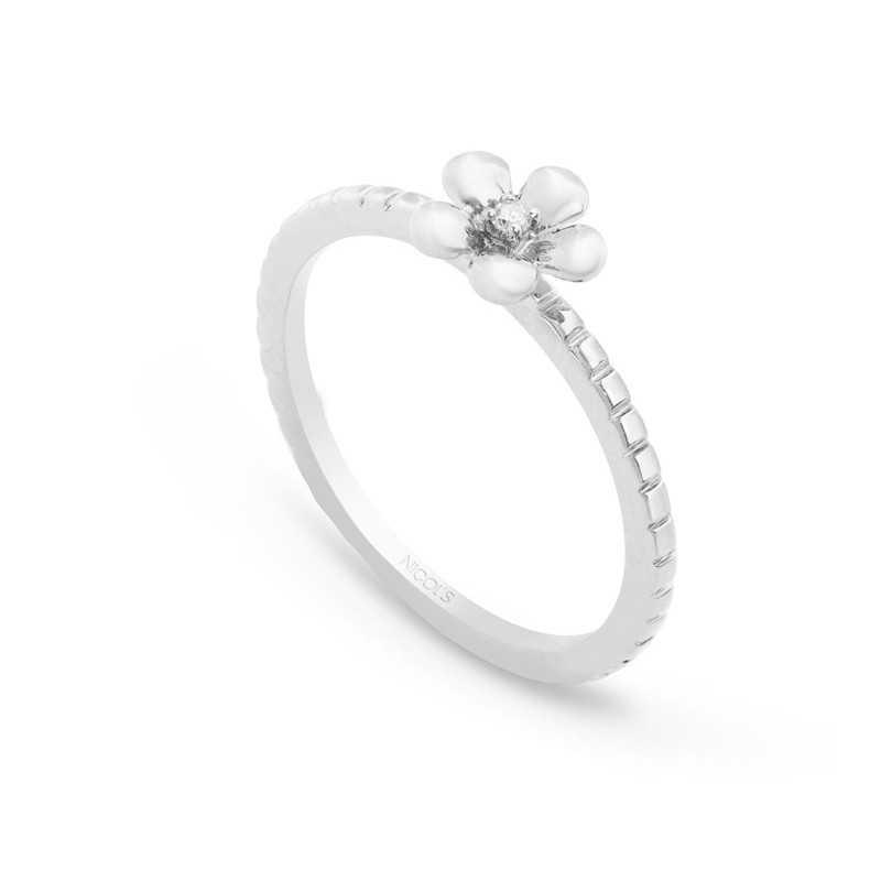 aa9226c8ed6c Anillo de Diamantes Flor MIX   MATCH NICOL´S. Anillo en forma de flor de  cinco pétalos