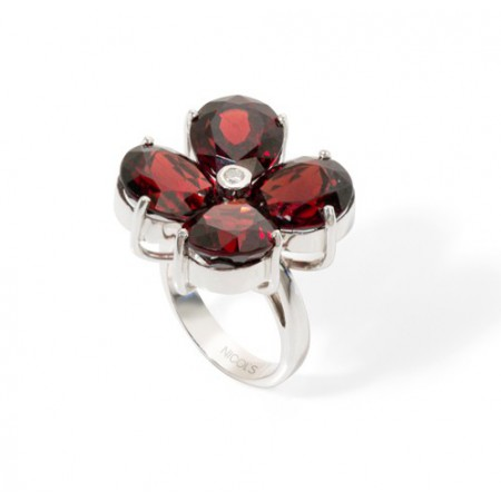 Anillo Granates y Diamante FLOWERS