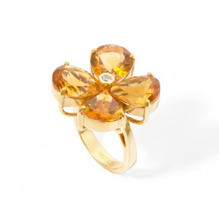 Anillo Citrinos y Diamante FLOWERS
