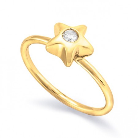Anillo Oro Solitario STAR NICOLS.