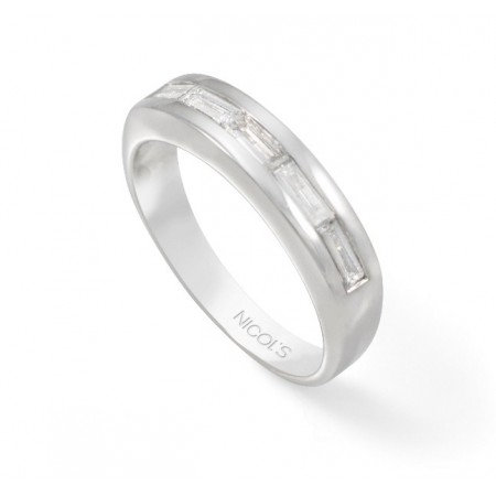 Anillo Pedida  Media Alianza Baguette DIAMOND CLASSIC