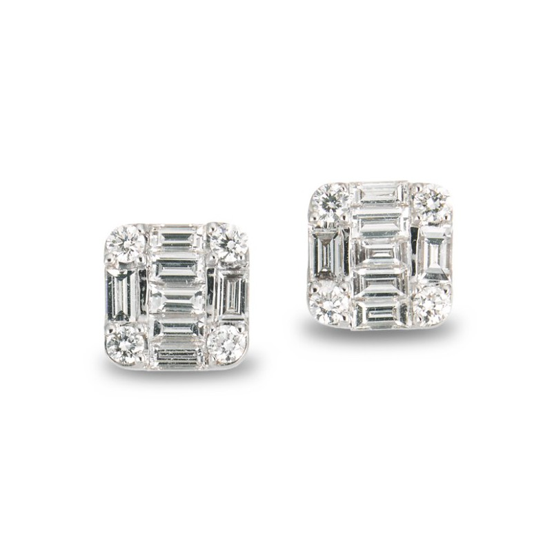 6f5ca6fc368 Pendientes Dormilonas SQUARE NICOL´S. Pendientes de diamantes Dormilonas en  forma de cuadrado de 8x8mm, formado por siete diamantes talla baguette y  cuatro ...