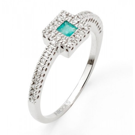 Anillo de Esmeralda DIAMOND COLOR ORLA QUARE
