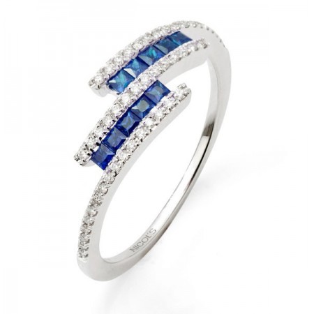 Anillo Diamantes Zafiros DIAMOND COLOR