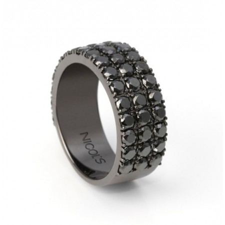 Anillo Oro Diamantes Negros BLACK POWER