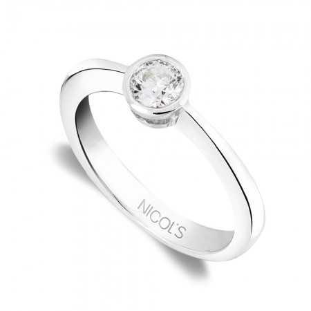 Anillo Compromiso LADY Oro Blanco (18kt) con Diamante