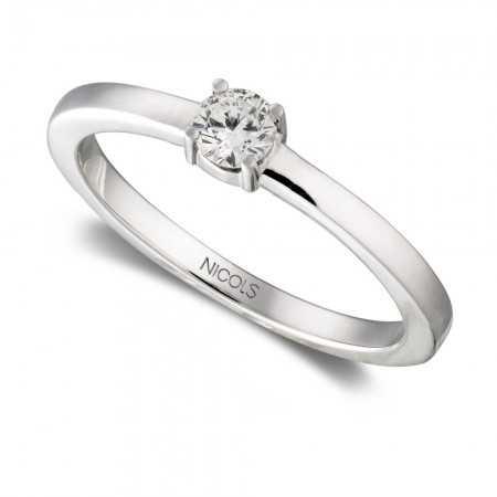 Anillo Compromiso GRACE Oro Blanco (18kt) con Diamante