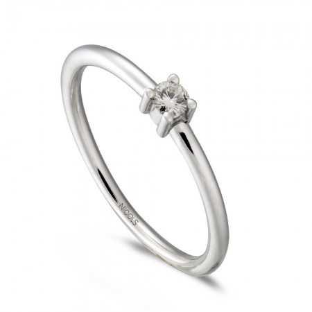 Anillo Compromiso AMY Oro Blanco (18kt) con Diamante
