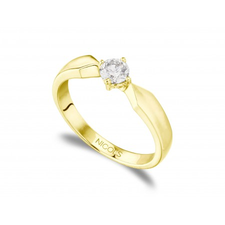 MARIE Twisted Yellow Gold (18kt) Engagement Ring with Diamond
