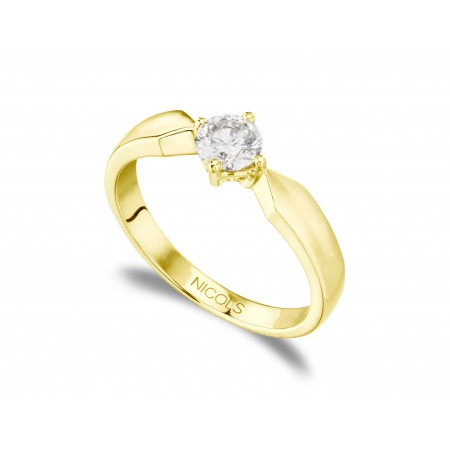 Anillo Compromiso MARIE Twisted Oro Amarillo (18kt) con Diamante
