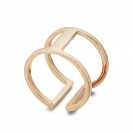 Anillo Oro BASIC GOLD PULGAR DOBLE BARRA UNIDA