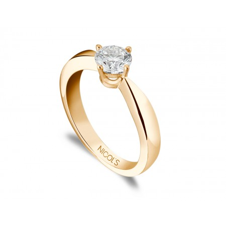 JACKIE Twisted Rose Gold (18kt) Engagement Ring with Diamond