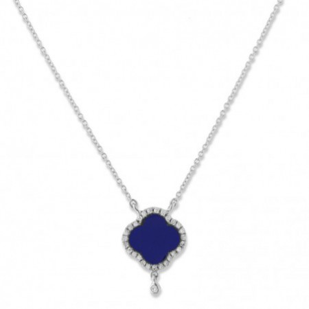 Lapislazuli Trebol Gold Necklace OPAQUE STONES