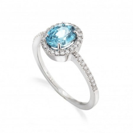 Anillo Oro Zircon Azul SELLO OVAL