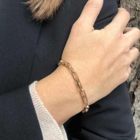 18kt Rose Gold Bracelet BAR LINK 18cm