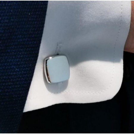 ENGRAVABLE Square Silver Cufflinks