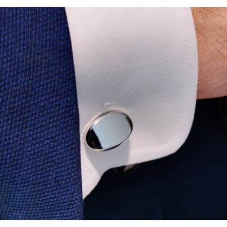 ENGRAVABLE Oval Silver Cufflinks.