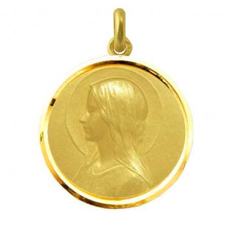 Medalla Virgen María Velo Oro 18kt Bisel