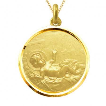 Medalla Niño Jesús Oro 18kt Bisel