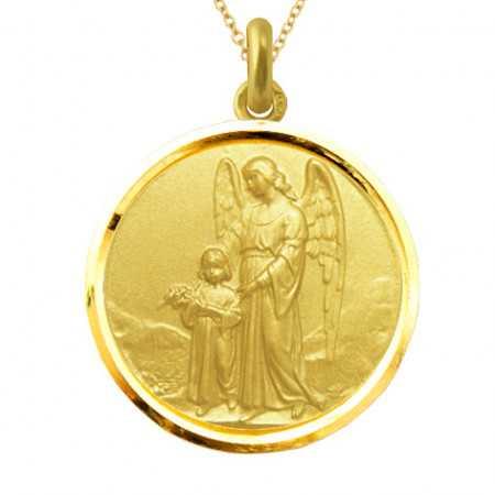 Medalla Ángel de la Guarda Oro 18kt Bisel