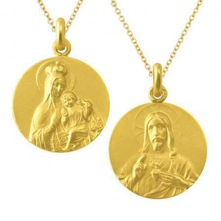 Escapulario Virgen del Carmen y Sagrado Corazón 18kt