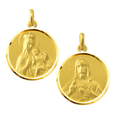 copy of Escapulario Virgen del Carmen y Sagrado Corazón 18kt