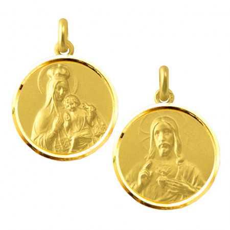 Escapulario Virgen del Carmen y Sagrado Corazón 18kt Bisel