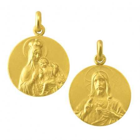 Escapulario Virgen del Carmen y Sagrado Corazón 18kt Hueca