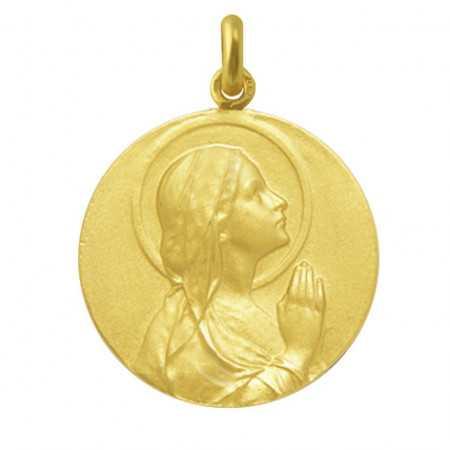 Medalla Virgen María Rezando Oro 18kt