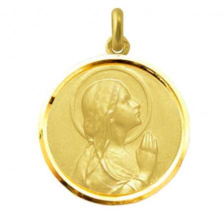 Medalla Virgen María Rezando Oro 18kt Bisel