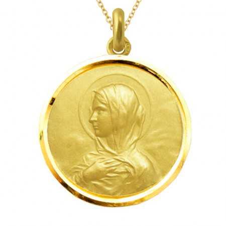 Medalla Virgen María Manto Oro 18kt Bisel