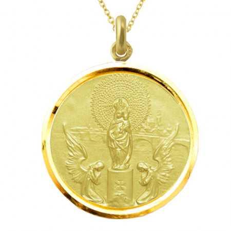 Medalla Virgen del Pilar Oro 18kt Bisel