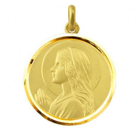 Medalla Virgen María Niña Oro 18kt Bisel
