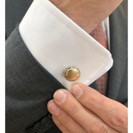 Silver and Gold Cufflinks ENGRAVABLE. Cufflinks in solid silver, sterling silver, in round shape, with a central circle of gold,