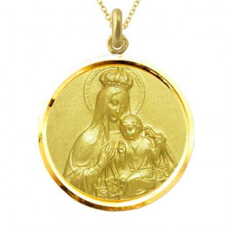 Medalla Virgen del Carmen Corona Oro 18kt Bisel
