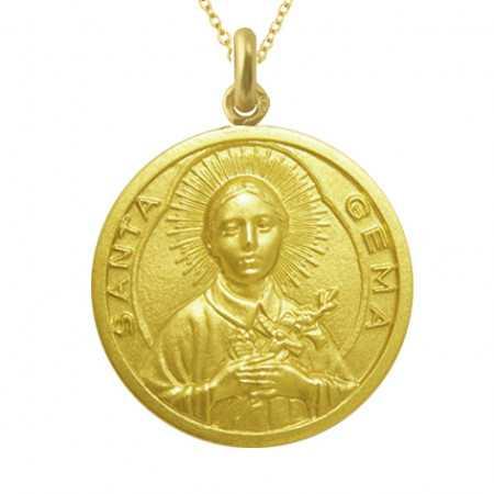 Medalla Santa Gema Oro 18 kt.
