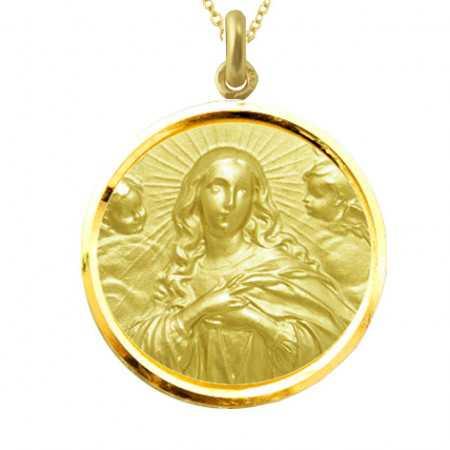 Medalla Inmaculada Concepción 18kt Bisel