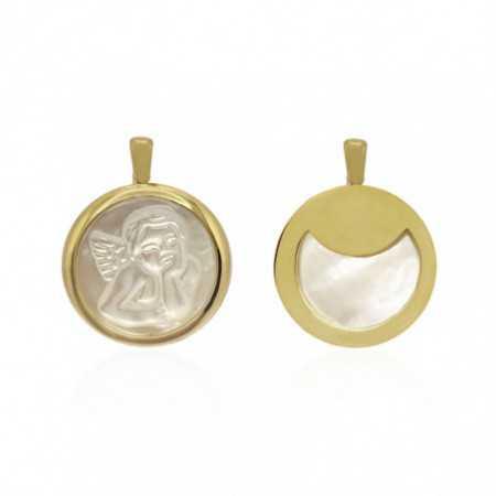 Medalla Ángel Serafín Oro 18kt y Nácar Bisel Grueso