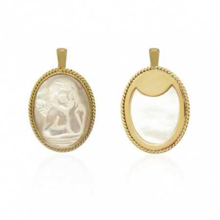 Medalla Ángel Serafín Oval Oro 18kt y Nácar Bisel Retorcido