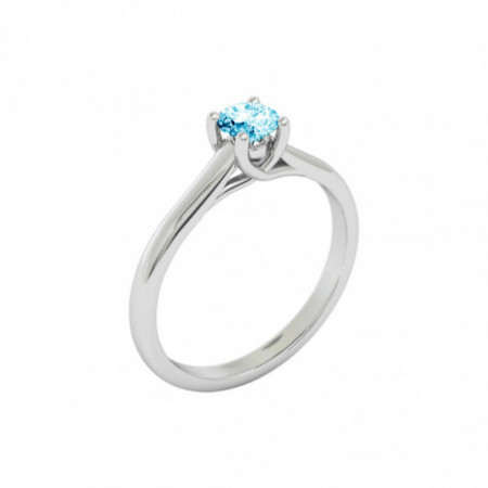 Anillo Brillante Azul Zircon SOLITARIO MEGAN