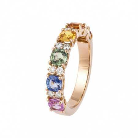 Anillo Oro Rosa, Diamantes  Zafiros RAINBOW