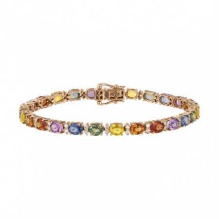 Pulsera Diamantes y Zafiros Colores Oro Rosa RAINBOW