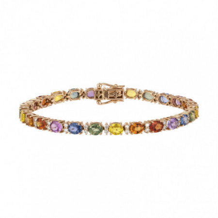 Pulsera Oro Rosa, Diamantes Zafiros RAINBOW